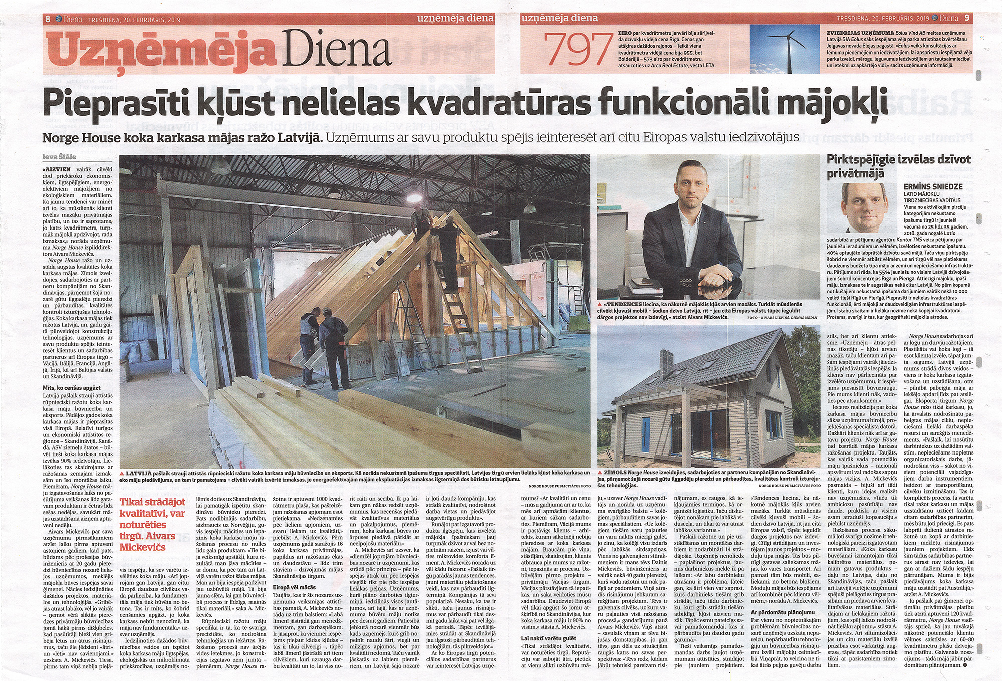 Norge House article in newspaper Diena.